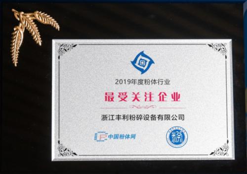 浙江丰利荣膺2019年度粉体行业最受关注企业称号